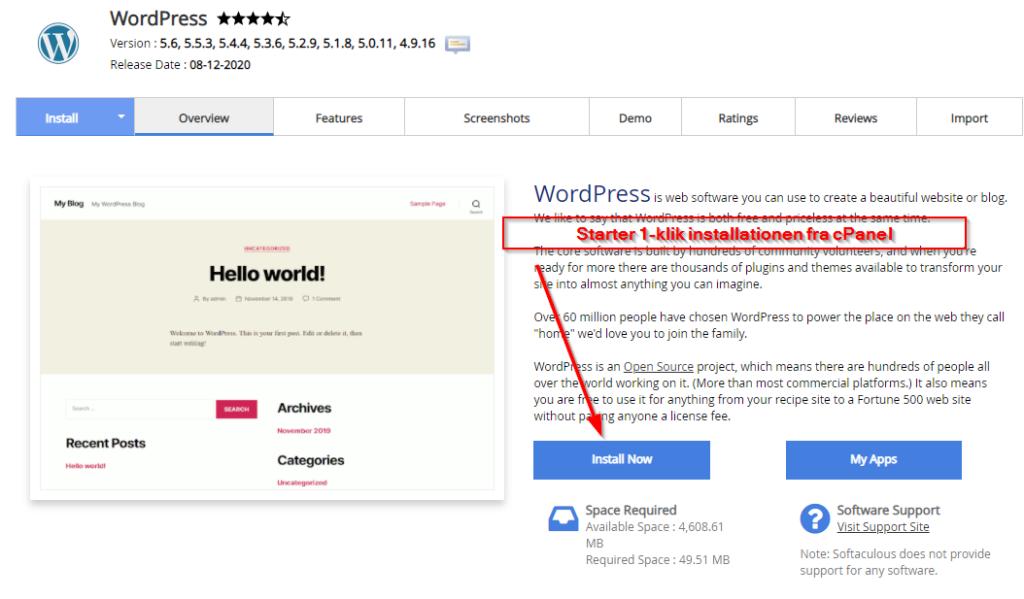 1-klik installation fra cPanel WordPress guide