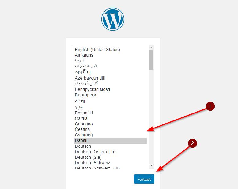 WordPress installation - Sprogvalg. Billede 3