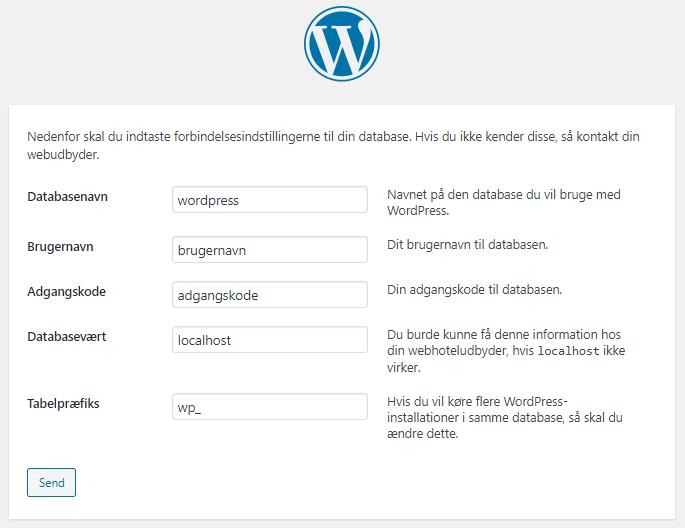 Database opsætning WordPress guide dansk